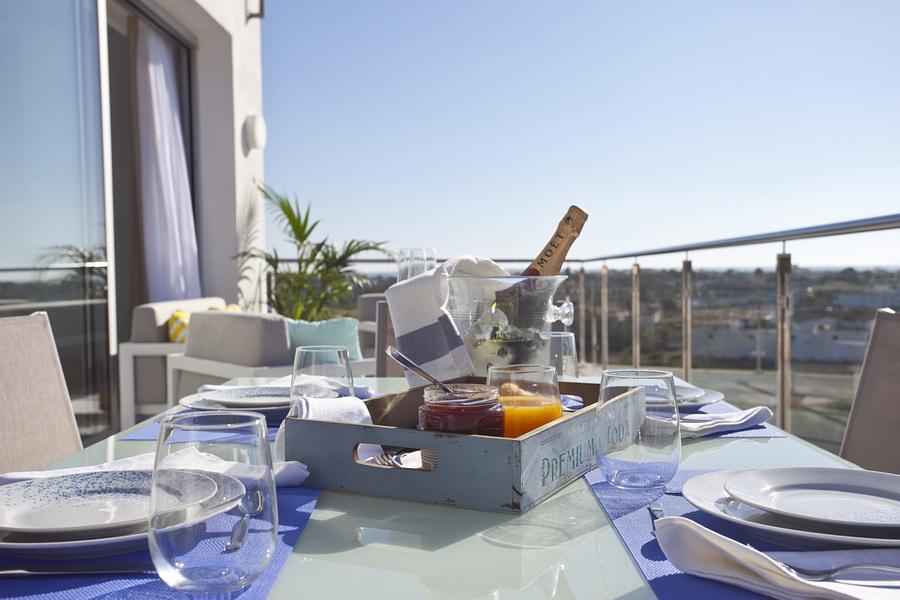 champagne en la terraza